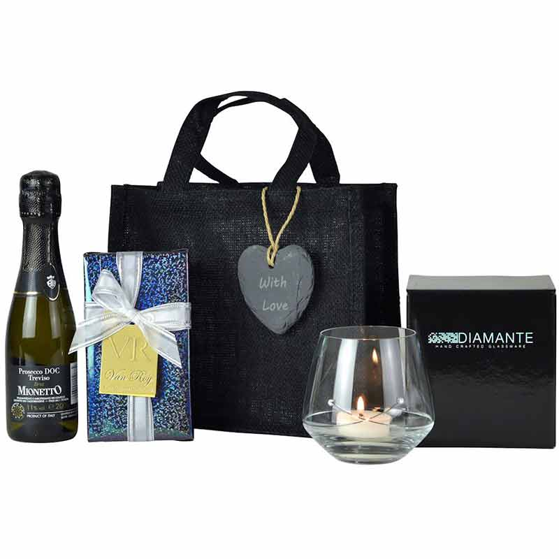 Little Black Bag with Personalised Slate Heart-Gift